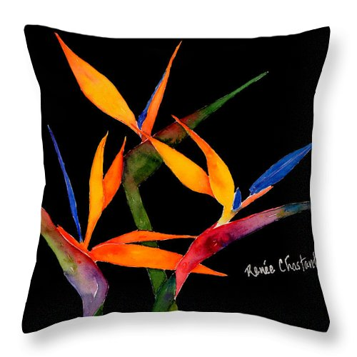Birds Of Paradise Throw Pillow featuring the painting Neons Of Paradise by Renee Chastant