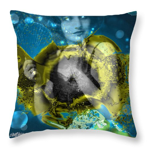 Neptune's Daughter Throw Pillow featuring the digital art Neptune's Daughter by Seth Weaver