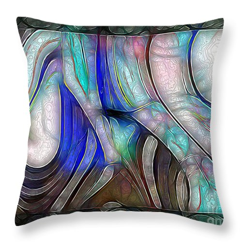 Abstract Throw Pillow featuring the painting Nerve Center by RC DeWinter
