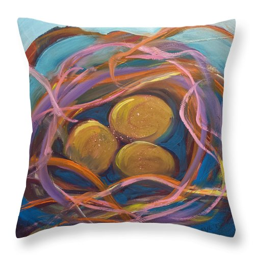 Eggs Throw Pillow featuring the painting Nest Of Prosperity 5.2 by Pam Van Londen