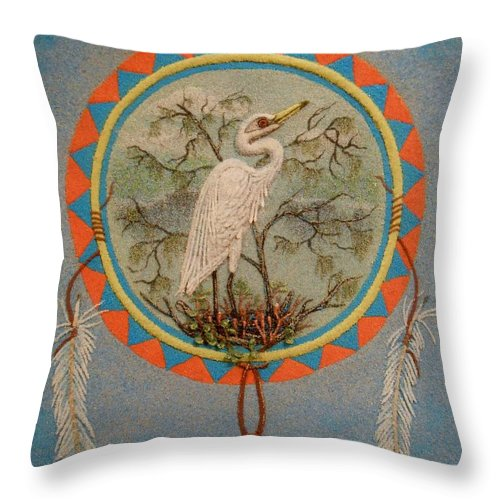 Egret Throw Pillow featuring the mixed media In Balanced Contemplation - Hega'ho by Duane West