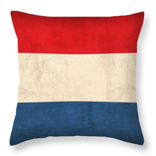 Netherlands Flag Vintage Distressed Finish Holland Europe Country Nation Dutch Throw Pillow featuring the mixed media Netherlands Flag Vintage Distressed Finish by Design Turnpike