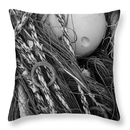 Adriatic Sea Throw Pillow featuring the photograph Nets And Buoy - Monochrome by Ulrich Kunst And Bettina Scheidulin