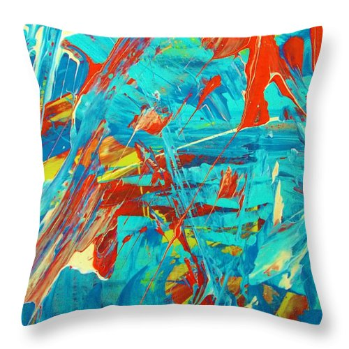 Original Throw Pillow featuring the painting never on a Wednesday by Artist Ai