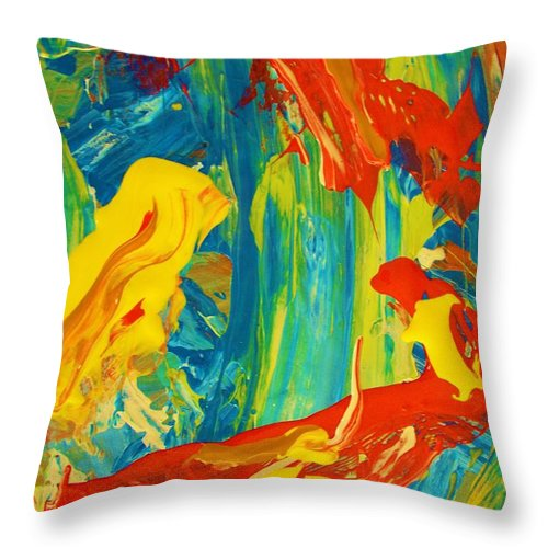 Original Throw Pillow featuring the painting Never On Sunday by Artist Ai