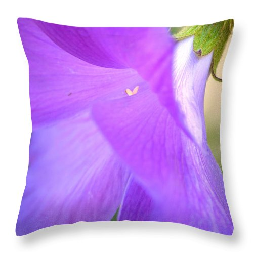 Blue Hibisus Throw Pillow featuring the photograph New Arrival by Deb Halloran