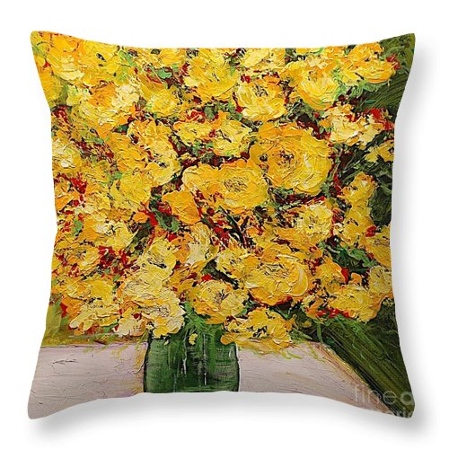 Landscape Throw Pillow featuring the painting New Beginnings by Allan P Friedlander