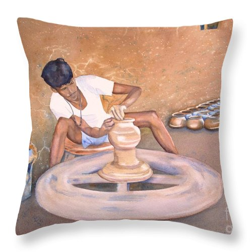 Potter Throw Pillow featuring the painting New Dehli Clay by Amanda Schuster