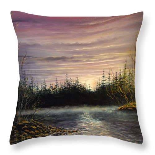 New England Fishing Spot Throw Pillow featuring the painting New England Fishing Spot by Joseph Boysko