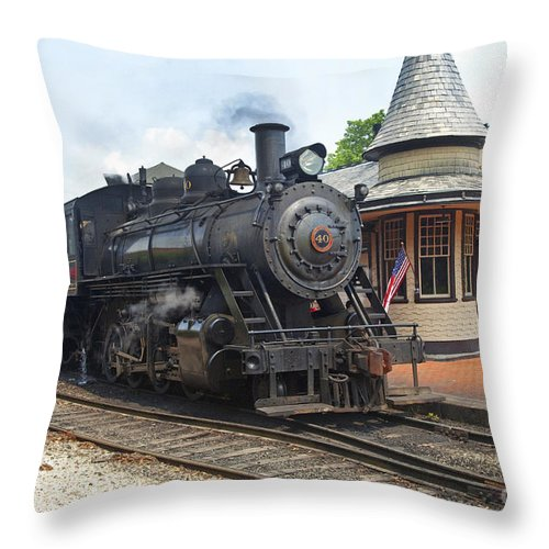 Railroad Throw Pillow featuring the photograph New Hope Station by Paul W Faust - Impressions of Light