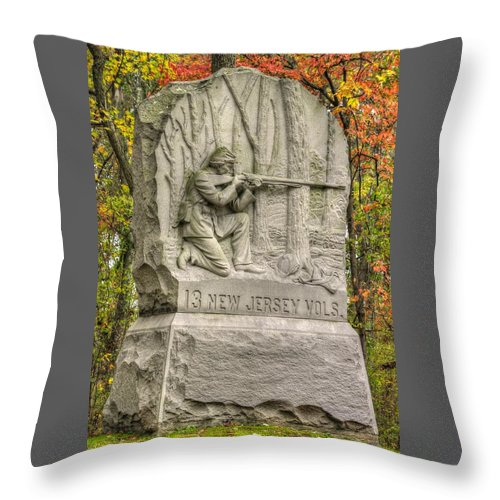 Civil War Throw Pillow featuring the photograph New Jersey At Gettysburg - 13th Nj Volunteer Infantry Near Culps Hill Autumn by Michael Mazaika