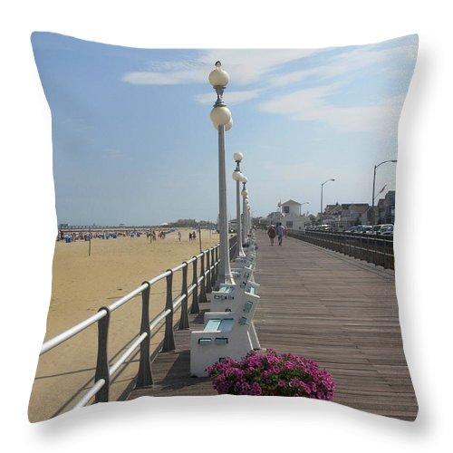 Boardwalk Throw Pillow featuring the photograph New Jersey Boardwalk by Laura Corebello