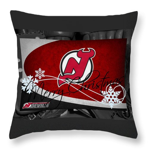 Devils Throw Pillow featuring the photograph New Jersey Devils Christmas by Joe Hamilton