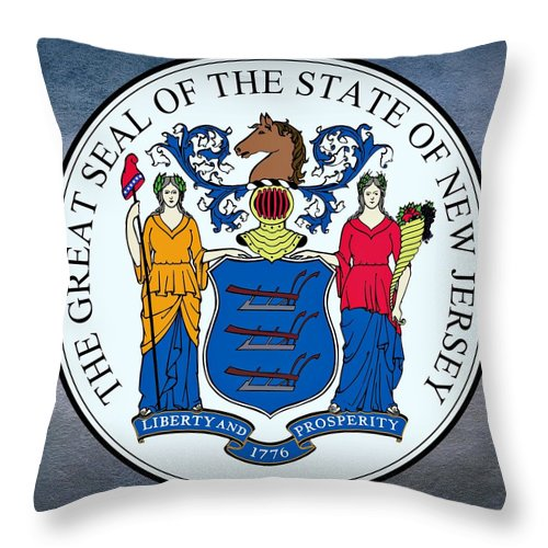 New Jersey Throw Pillow featuring the digital art New Jersey State Seal by Movie Poster Prints