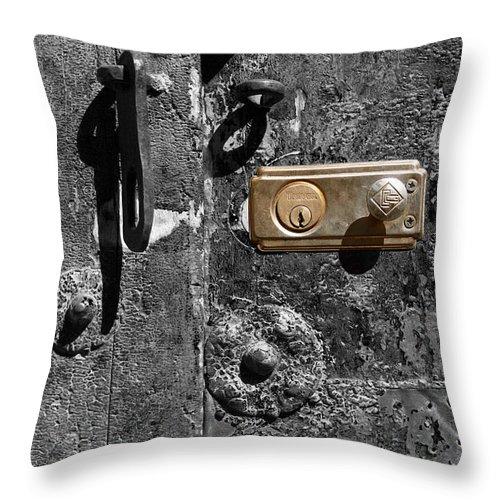 Door Throw Pillow featuring the photograph New Lock On Old Door 1 by James Brunker