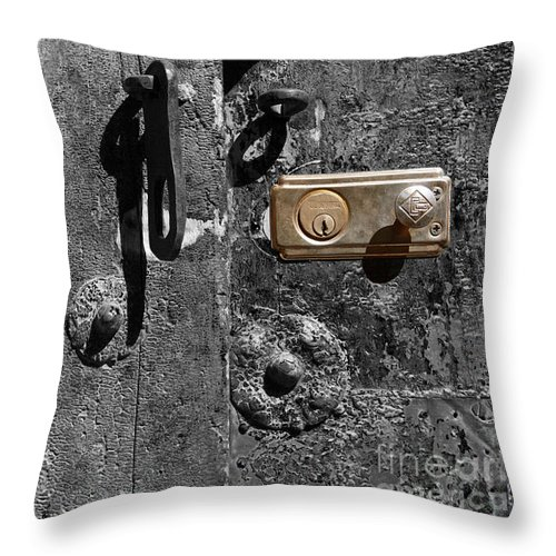 Still Life Throw Pillow featuring the photograph New Lock On Old Door 2 by James Brunker