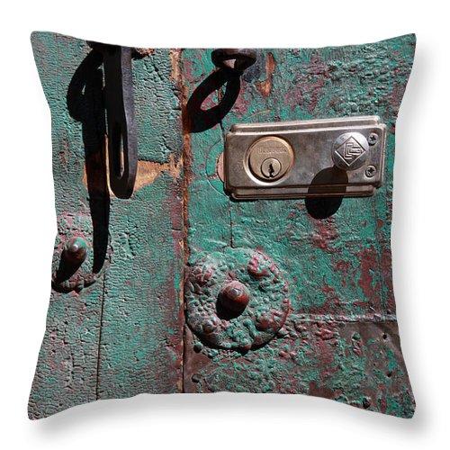 Door Throw Pillow featuring the photograph New Lock On Old Door 3 by James Brunker