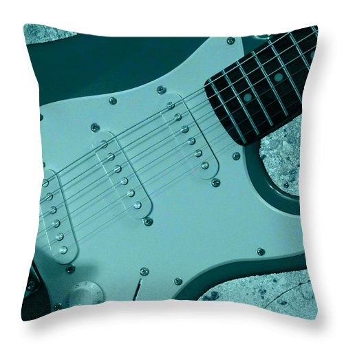 Fender Throw Pillow featuring the photograph New Member Of The Band by Karen Beasley