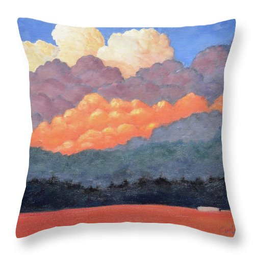 Clouds Throw Pillow featuring the painting New Mexico Cloudscape by Gary Coleman