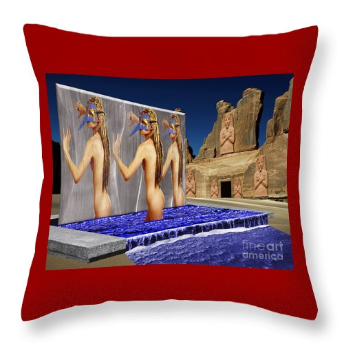 Landscape Throw Pillow featuring the digital art New Monument For The 3 Goddesses by Keith Dillon