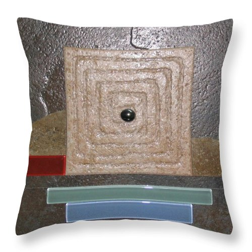 Assemblage Throw Pillow featuring the relief New Moon by Elaine Booth-Kallweit