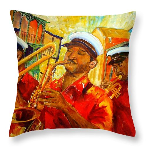 New Orleans Throw Pillow featuring the painting New Orleans Brass Band by Diane Millsap