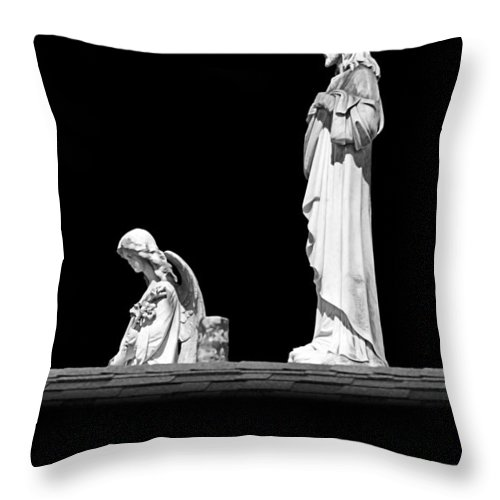 Angel Throw Pillow featuring the photograph New Orleans Cemeteries Worth A Stop by Christine Till