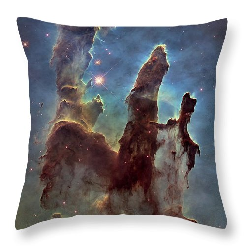 3scape Throw Pillow featuring the photograph New Pillars Of Creation Hd Tall by Adam Romanowicz