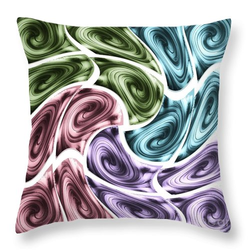 Abstract Throw Pillow featuring the mixed media New Swirls by Ann Calvo