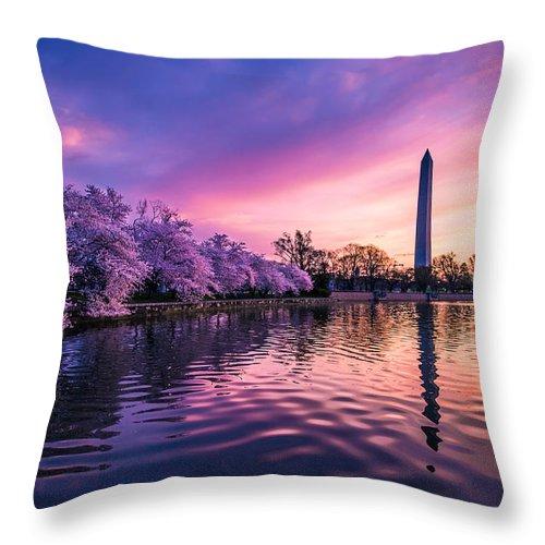 Washington Throw Pillow featuring the photograph Cherry Blossom Sunrise by Doug Van Sant