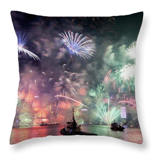 Firework Display Throw Pillow featuring the photograph New Year Fireworks Hong Kong Asia by Steffen Schnur