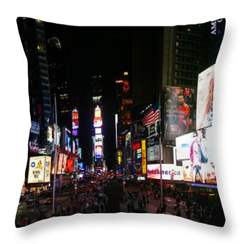 Broadway Throw Pillow featuring the photograph New York - Broadway And Times Square by Randy Smith