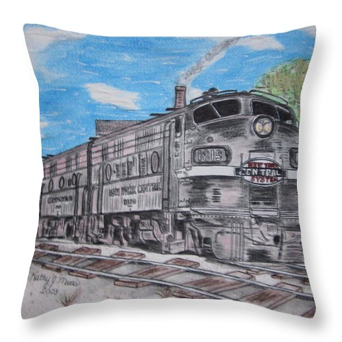 New York Throw Pillow featuring the painting New York Central Train by Kathy Marrs Chandler
