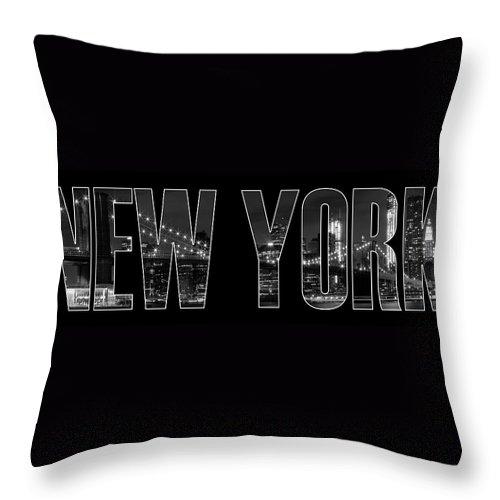 New York Throw Pillow featuring the photograph New York City Brooklyn Bridge Bw by Melanie Viola