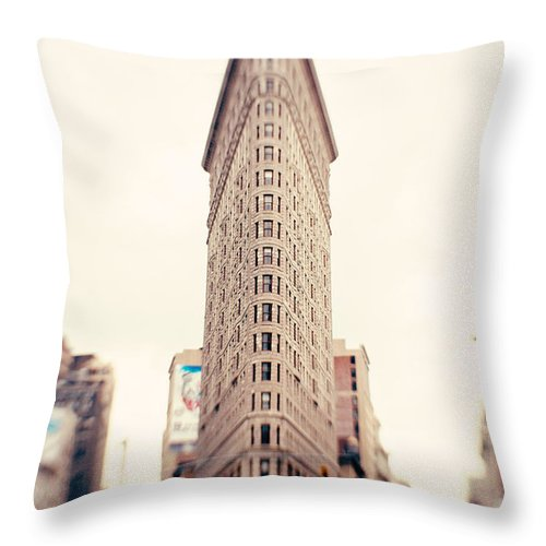 New York City Photo Throw Pillow featuring the photograph New York City Flatiron Building by Kim Fearheiley