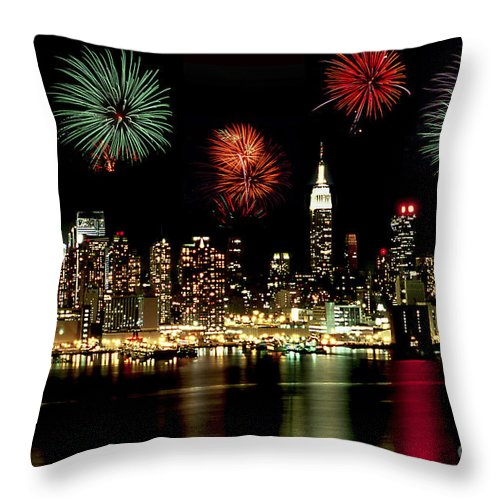 Nyc Throw Pillow featuring the photograph New York City Fourth Of July by Anthony Sacco
