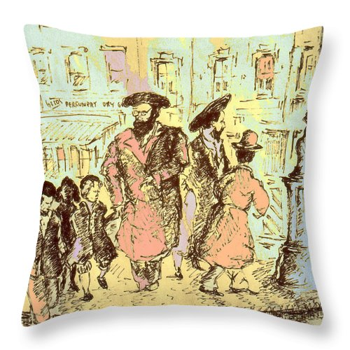New_york Throw Pillow featuring the drawing New York City Jews - Fine Art by Peter Potter
