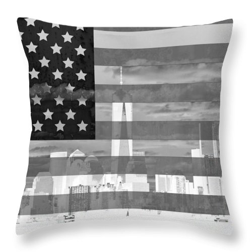 New York City On American Flag Black And White Throw Pillow featuring the mixed media New York City On American Flag Black And White by Dan Sproul