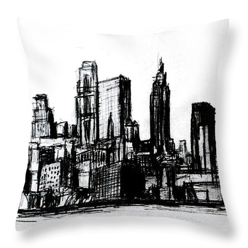 Nyc Throw Pillow featuring the drawing New York City by Paul Sutcliffe