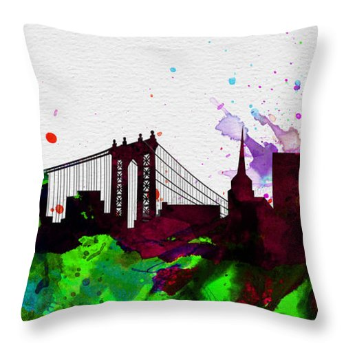 New York City Throw Pillow featuring the painting New York City Skyline 2 by Naxart Studio