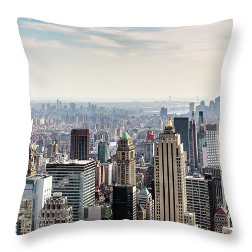 Scenics Throw Pillow featuring the photograph New York City Skyline by Denise Panyik-dale