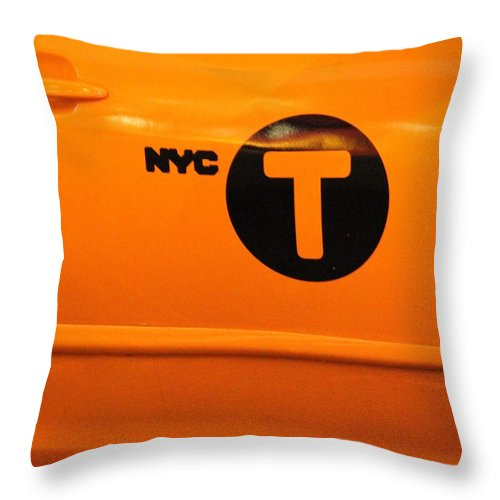 New York City Taxi Throw Pillow featuring the photograph New York City Taxi by Dan Sproul