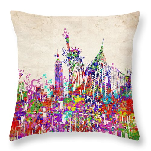 New York Throw Pillow featuring the painting New York City Tribute 2 by Bekim Art