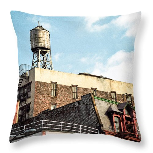 Water Tower Throw Pillow featuring the photograph New York City Water Tower 2 by Gary Heller