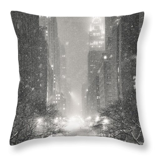 Nyc Throw Pillow featuring the photograph New York City - Winter Night Overlooking The Chrysler Building by Vivienne Gucwa