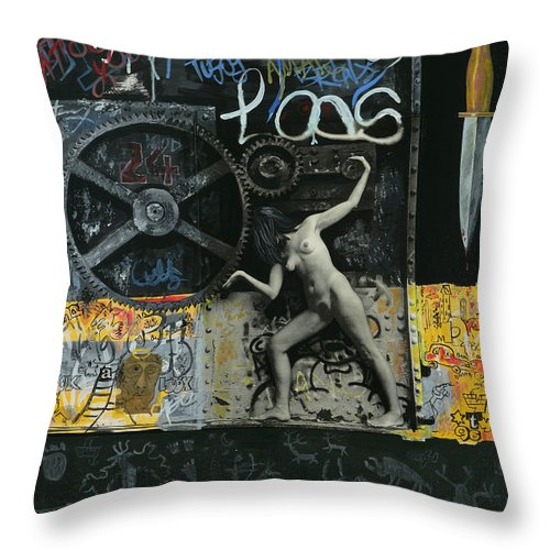 City Throw Pillow featuring the painting New York City by Yelena Tylkina