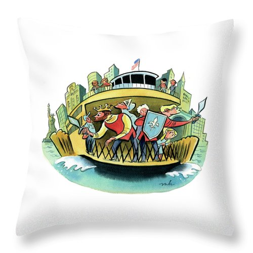 Ferry Throw Pillow featuring the digital art New York Classical Theatre's Henry V Takes by Marcellus Hall