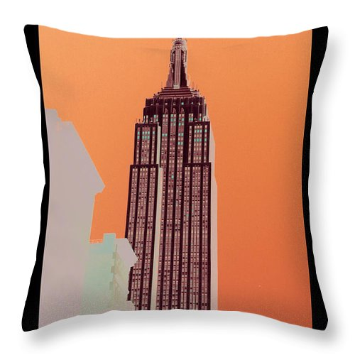 Skyline Throw Pillow featuring the mixed media New York Coordinates by Celestial Images