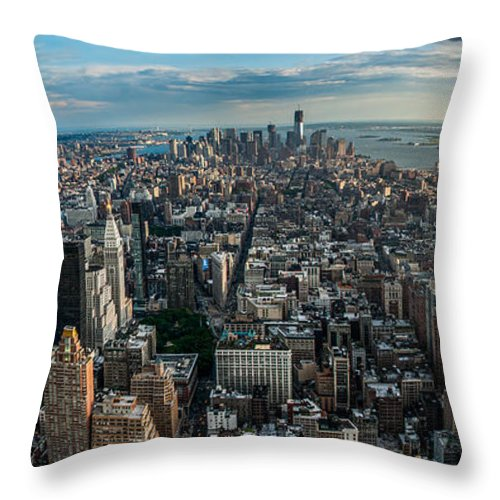 Manhatten Throw Pillow featuring the photograph New York From A Birds Eyes - Fisheye by Hannes Cmarits