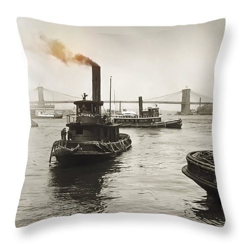 new York Throw Pillow featuring the photograph New York Harbor And Brooklyn Bridge 1905 by Daniel Hagerman